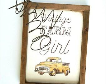 VINTAGE Farm Girl, Handmade Wood Sign