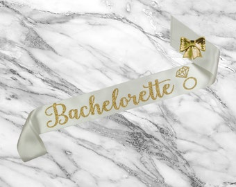 Bride Sash Bachelorette - Bride Sash - Bachelorette Sash - Bridal Shower Sash - Custom Glitter Satin Sash
