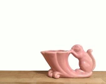 Vintage Pink Ceramic Squirrel Planter by Cameron Clay