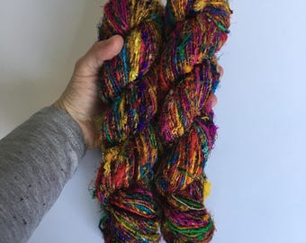 Recycled Silk Sari Yarn - Art Yarn - Hand Spun, Eco-Friendly & Socially Responsible - 2 Skeins ~130 yards