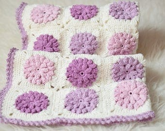 Crocheted Blanket, Cotton Blanket, Pink, Lilac, Purple, Ivory, Blanket, Shower Gift, Photo Prop