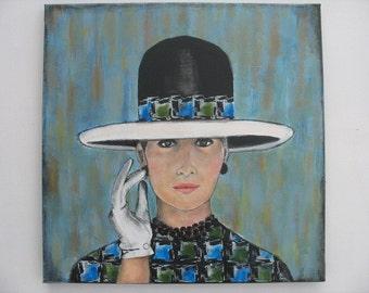 60's Lady Portrait Woman Painting Acrylic Original Art Work Retro Fashion Hat Houndstooth White Gloves
