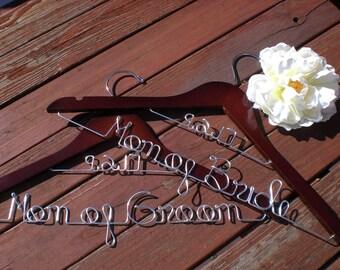 Set of 2 Wedding Hangers/Mother of the Bride and Mother of the Groom/Personalized Hanger/Personalized Custom Bridal hanger/ Bride