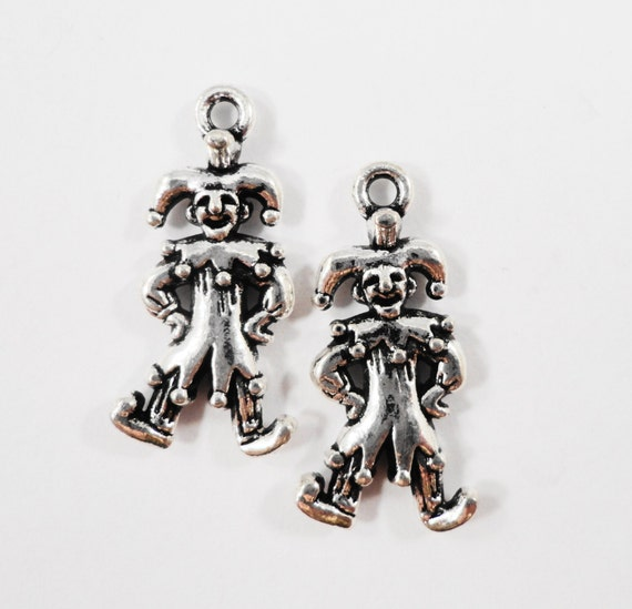 Silver Jester Charms 23x12mm Antique Silver Jester Pendants, Medieval Charms, Clown Charms, 3D Metal Charms, Craft Supplies, 10pcs