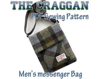 The Craggan, mens messenger bag pattern. iPad bag, man bag pattern. Bag sewing pattern. - Manbag. Cross Body Bag PDF sewing Pattern.