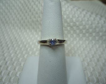 Round Cut Cornflower Blue Sapphire Ring in Sterling Silver   #1973