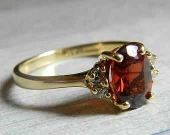 14K Gold Garnet Ring Engagement Ring One Carat Garnet Genuine Diamond Garnet Unique Engagement January Birthday