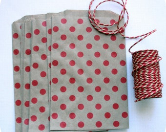 Bags/pouches kraft with red dots (set of 10) Christmas decoration 13 cm x 19cm