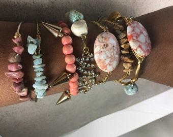 Stackable bracelet set, boho bracelets, layering bracelets, beaded bracelets,set of 7, gemstone bracelets, bangle bracelets