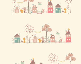 Moda-Corner of 5th & Fun by Sandy Gervais Children's Novelty Border Stripe in Natural 17900-11