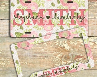 Family name heart font, Personalized floral license plate or frame, Pink and green auto accessories (1759)