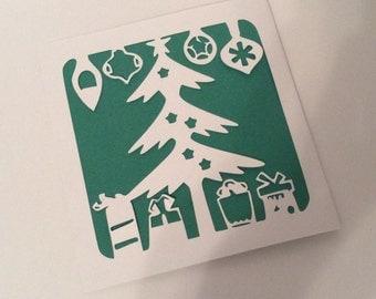 Christmas Card pack, handmade Christmas card set, holiday card bundle, personalized cards, pack of 5, stationary xmas, christmas tree card