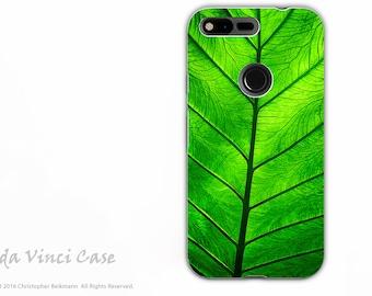 Green Leaf Google Pixel Tough Case - Artistic Dual Layer Protection - Leaf of Knowledge Nature Art Pixel Case by Da Vinci Case