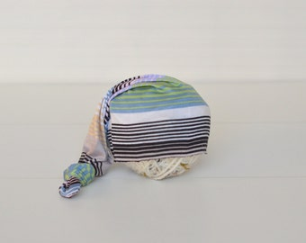 RTS simple stripey sleepy hat long tail hat Newborn baby boy or girl photography prop upcycled style