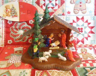 Vintage Plastic Nativity Scene   #A