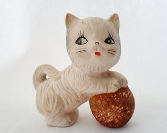 ON SALE Vintage Little Kitten Figurine, Japan, Porcelain, Collectibles, Playing with a  Ball