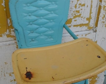ON SALE Vintage Amsco Metal Doll Highchair, Turquoise and Yellow, Toy,Child's, 1950's Cottage Chic, Shabby Chic