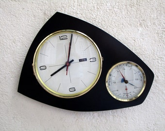 French Mid Century Atomic Age FFR Wall Clock - includes working Barometer & Thermometer - Formica Clock - Perfect Working Condition