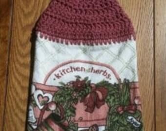 Crochet Top Towel, Hanging Hand Towel, Kitchen Towel, Dish Towel, Coffee Towel, Kitchen Herbs Themed Towel
