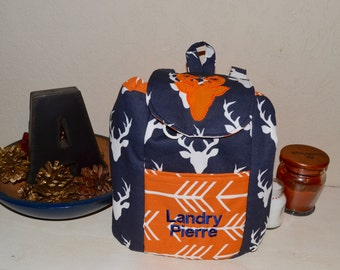 Handmade Personalized Mini/Toddler Backpack made with hello bear deer silhouette fabric and accents of orange arrows