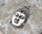 Buddha pendant large antique silver plated charm nickel free lead free Jewelry supplies mdla285