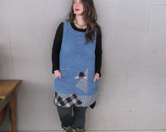 denim tunic dress upcycled clothing Shabby chic L X L Funky pinafore Eco tattered jumper apron Lagenlook Artsy Boho dress LillieNoraDryGoods