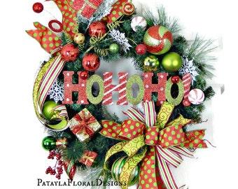 Christmas Ho Ho Ho Wreath, Holiday Wreath, Front Door Wreath, Evergreen Wreath, Christmas Wreaths, Christmas Decor, Ornament Wreath, Gifts