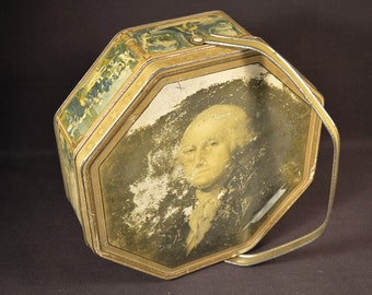 Primitive Tin Box Container George Washington Biscuit Tin