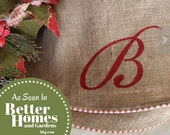"""60"""" Natural burlap Christmas tree skirt with red and white piping, upholstery grade burlap, optional custom Initial or Name"""