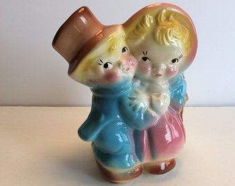 Vintage Boy and Girl Large Planter Adorable Great Condition