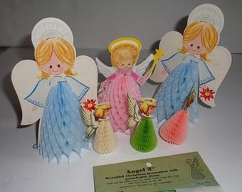 Vintage Honeycomb Angels Fold Out Tissue  Lot of 6 Angels Various Sizes