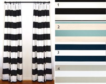 Curtains 2 Curtain Panels Draperies Window Treatments Premier Prints Cabana Black Stripe