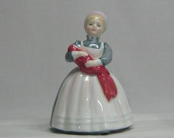 Vintage Royal Doulton Figurine The Rag Doll HN 2142 Hand Decorated Girl Holding Baby Doll