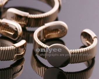 10PCS-6mm Bright Gold Plated Brass Free Size Adjustable RING 8mm Blank Base For Deco pad Ring (E368G)