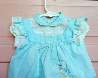 Vintage baby dress/ easter dress- spring dress, baby duck embroiderey size 3M