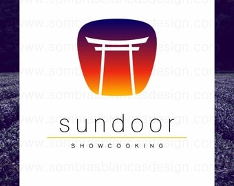 OOAK Premade Logo Design - Sun Door - Perfect for an asian restaurant or a high end japanese home decor shop