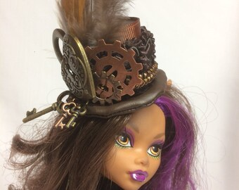 Steampunk Doll Hat - Locket, Keys and Gear hat for your Monster High, Ever After, Barbie and similar size dolls