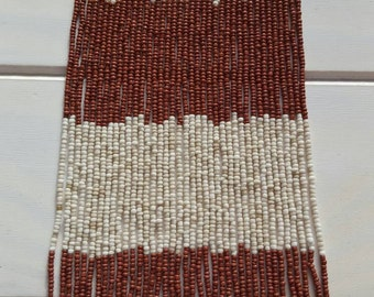 "Bashful brown, 1:12th Scale Miniature Beaded Curtain, 7.5"" by 3"", made for use in 12th scale dollshouse...not a full sized beaded curtain!"