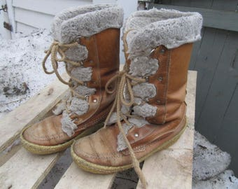 Made in Canada Women's Cabela's tall leather snow boots size 7 sheeppskin lined tons of character offers considered