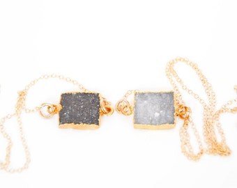 Druzy Square Pendant Necklace, Pendant Necklace, Crystal Necklace, Gold Necklace