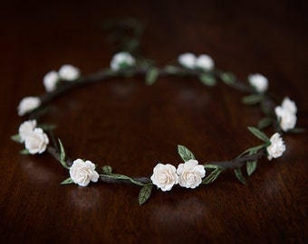 Ivory Rose Flower Crown - WEDDINGS, BRIDESMAIDS, FLOWERGIRLS