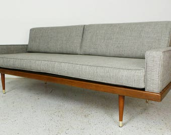 mid century modern reupholstered grey tweed daybed sofa with walnut frame