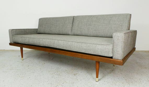 Mid century modern reupholstered grey tweed daybed sofa with for Mid century modern day bed