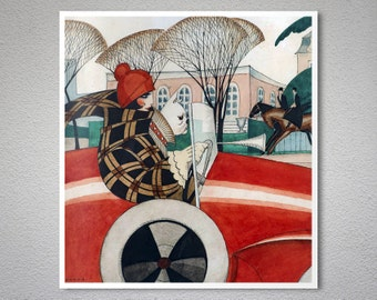 Girl and Pug in an Automobile by Gerda Wegener - Poster Paper, Sticker or Canvas Print / Gift Idea