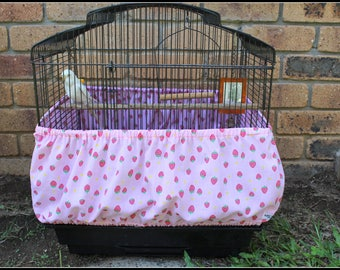 Bird Cage Seed Guard // Seed Catcher // Cage Skirt // Parrot Cage Side Cover  - YOU PICK FABRIC