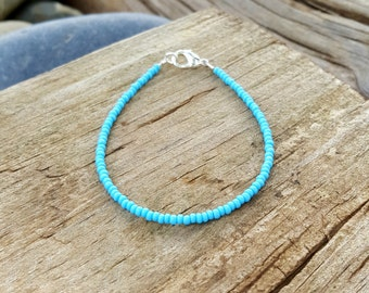 turquoise bracelet boho beach surfing summer holiday vacation seed bead jewellery