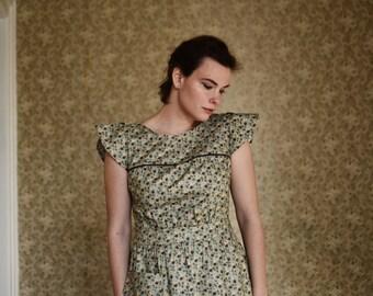 Dottie / 1930's Dress / Summer Dresses for Women / Spring Dress / Free Shipping / Vintage Dresses For Women / Green Dress / Cap Sleeves /
