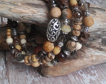 Picture Jasper Beaded Bracelet Smoky Quartz Wood Beads Memory Wire Multistrand Wrap Earthy New Age Hippie Gifts for her birthday BJGB72