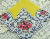Vintage Hankie Yeloow with Pink and Blue Floral Hankie, Sewing, Quilting, Framing, Bow Making #A54