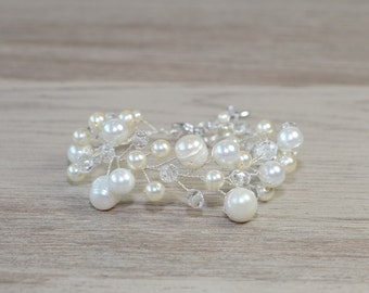 Swarovski Pearl Bridal Bracelet Silver Ivory crystal bracelet White Wedding jewelry Bridal jewelry statement Wedding accessories  bridesmaid